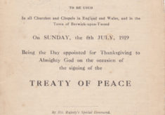 Thanksgiving and Prayer, Treaty of Peace, July 1919