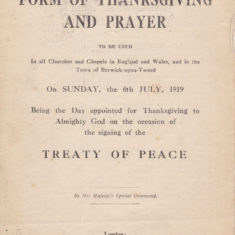 Thanksgiving and Prayer, booklet for the Treaty of Peace, July 1919 - page 1 of 4 | Bottesford Heritage Archive