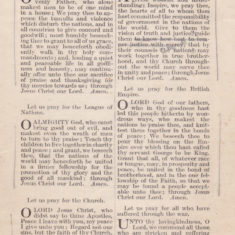 Thanksgiving and Prayer, booklet for the Treaty of Peace, July 1919 - page 3 of 4 | Bottesford Heritage Archive