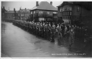 Edgar Culpin at the front of the Home Guard parade, immediately behind the leader, in Melton Mowbray in 1945. | Bottesford Heritage Archive; from the collection of Mrs Brenda Turier