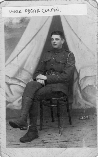 Edgar Culpin aged 17, at military camp in 1914. | Bottesford Heritage Archive; from the collection of Mrs Brenda Turier