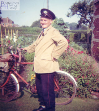 Cecil Briggs wearing his Post Office uniform and with his delivery bicycle, outside his cottage on Easthorpe Lane, c.1970. | From the family collection of Mr Jeremy Pedge.