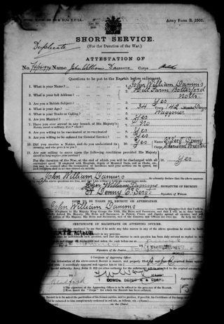John William Damms attestation record, 1915 | The National Archive