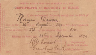 Norman Dawson's birth certificate | By courtesy of Mr Ian McCraight