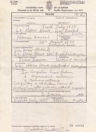 Norman Dawson's death certificate. | By courtesy of Mr Ian McCraight.