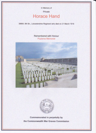 Horace Hand commemorated at Pozieres Memorial. | Commonwealth War Graves Commission website