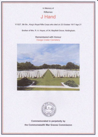 Joseph Hand, commemorated at Hooge Crater Cemetery | Commonwealth War Graves Commission website
