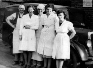Tom Philips and the workers at the bakery on Chapel Street, Bottesford. Left to right: Tom Philips, Winifred Claricoats, Cecil Briggs, Kathleen Langton, Emily Rayson, in front of the bakery's Morris 12 delivery van. | From the family collection of Mr John Simpson; Bottesford Heritage Archive