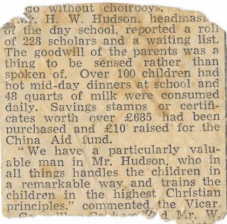A newspaper cutting referring to Herbert Hudson's qualities as a greatly admired teacher. The date and newspaper are uncertain, but it probably dates from WW1 or later, when he was a teacher in Kingston-upon-Thames. | From the Hudson family archive, courtesy of Mr Jonathan Hudson.
