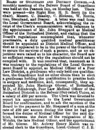 Grantham Journal 1896: appointment of Dr Glover. | British Newspaper Archive