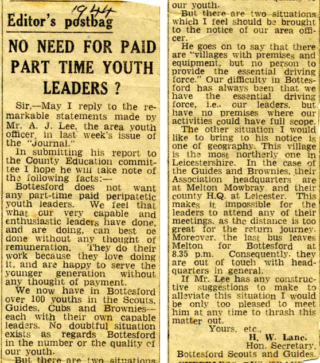 Letter published by Harry Lane in 1944. | Courtesy of the Grantham Journal