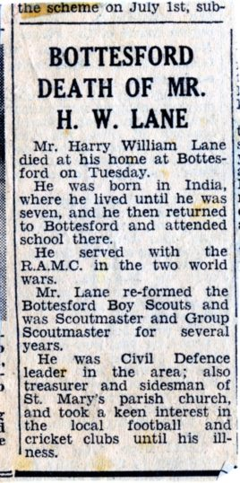 Harry Lane Obituary notice, Grantham Journal, 1968 | Courtesy of the Grantham Journal