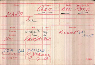 Arthur Ward's Medal Index Card | The National Archive