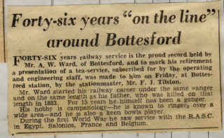 The brief obituary notice for Arthur Ward published by the Grantham Journal   From the scrapbook of the late Mrs Dorothy Beedham.
