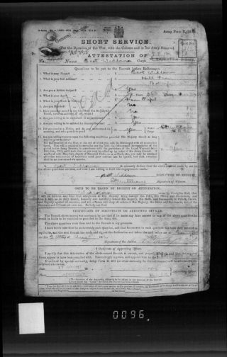 Bert Widdowson's attestation sheet, 1916 | The National Archive