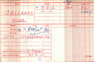 Walter Jallands' Medal Index Card | The National Archive