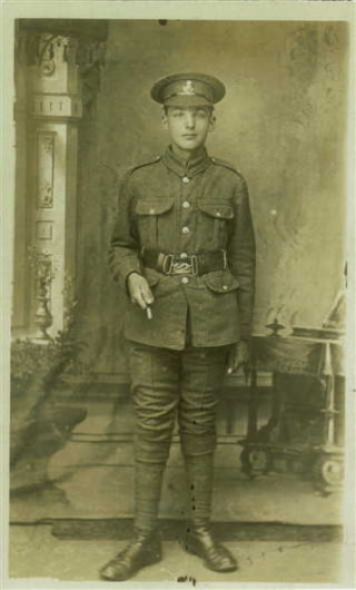 Private Sydney Garnet Robinson, photographed after enlisting. | Image from Lee public family tree on Ancestry.co.uk
