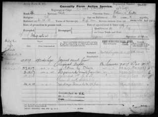 Octavius White, Casualty Form giving detail of his WW1 service record. | The National Archive