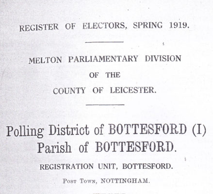 Title page of the 1919 Register of Electors in Bottesford and Muston | Bottesford Heritage Archive