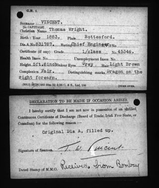Thomas Wright Vincent identity card, 1921. | The National Archive