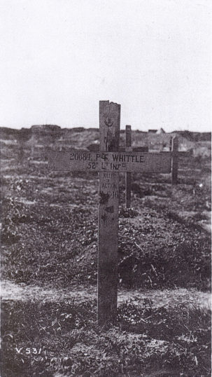 Grave marker of Frank Whittle erected in France during the war before the establishment of the Imperial War Graves Commission (Later the Commonwealth War Graves Commission). | From the family collection of Mr G. Brassington