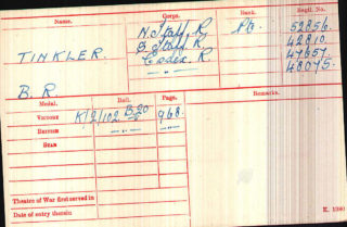 Pte B.R. Tinkler's Medal Index Card. | The National Archive
