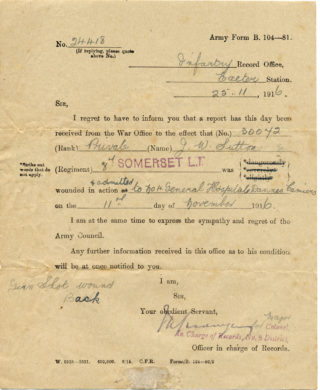 John William Sutton, hospital admission paper, 1916   From the private papers of the late Mrs Dorothy Beedham.