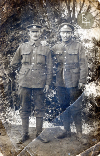 The man on the right is John Robert Jackson, Royal Engineers, probably taken in 1917: the identity of the other soldier is unknown. | Bottesford Heritage Archive, from the private collection of Mrs Jean Round by permission.