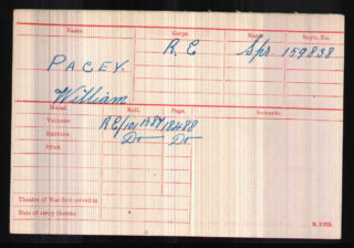 Sapper W. Pacey's medal index card. | The National Archive