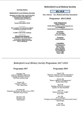 Bottesford Local History Society Programme 2017/18