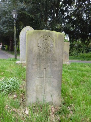 Private Isaac Bonshor's headstone in St Mary's churchyard, Bottesford (Note that his initial has been erroneously inscribed as 'T'). | Bottesford Heritage Archive
