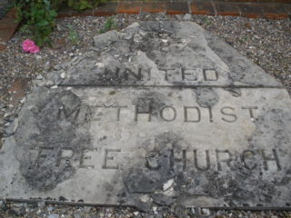 Muston Chapel inauguration stone, 1887, lying in the small yard in front of the chapel. | Copyright Neil Fortey