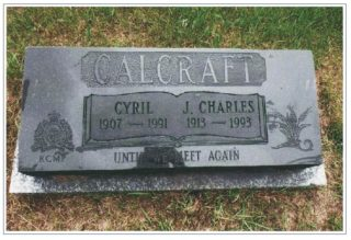 Grave of Cyril Cal Calcraft | Courtesy Mr Joseph Healy