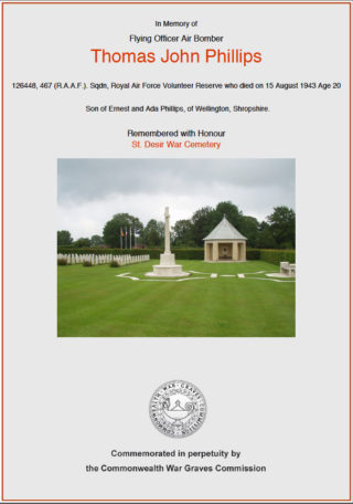 John Phillps: A Bottesford Airman | CWGC