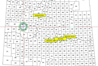 Southern half of Saskatchewan Province. Blue circle centred on Arthur Calcraft's homestead, 250 miles from brother Joseph in Indian Head.