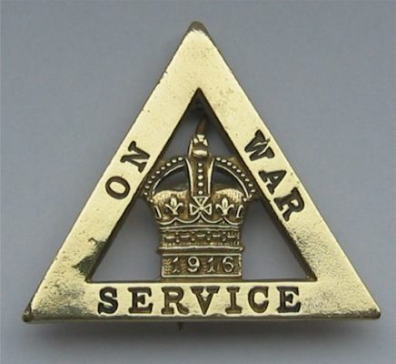 1916 Wartime Service Badge, this version typically worn by munitions workers. | Image from barnesfamilyhistory.org