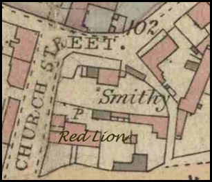 Detail of the 1884 map of Bottesford, showing the Red Lion on Grantham Road. The forge and wheelwright's shop were in the Red Lion yard.   Bottesford Local Heritage Archive