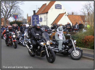 Start of the bikers' charity run from the Red Lion, sunday before Easter, 2014.   Photo by Neil Fortey