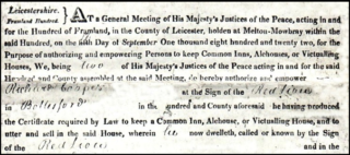 Red Lion, 1822 licence. | Courtesy of Mr. Nigel Beacroft