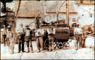 Road Gang outside the Red Lion when Ernest Lamb was landlord.    Courtesy of Mrs. Maureen Hill