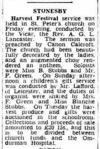 Grantham Journal article about Canon Calcraft preaching at Stonesby in October 1957