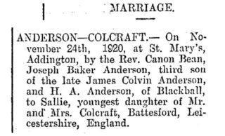 Marriage Announcement for Joseph and Sallie | Greymouth Evening Star 8 December 1920