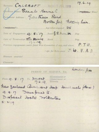 One of the VAD record cards for Sarah Hannah Calcraft | British Red Cross WW1 Archive