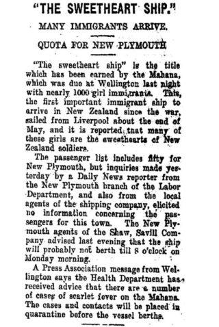 Sallie Calcraft – A Sweetheart in New Zealand | Taranaki Daily News 17 July 1920