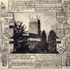 Postcard of Stathern St Guthlac's church and a series of historical cartoons.
