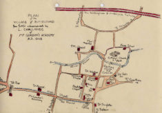 Map of Bottesford by schoolboy L. Challands of Mr Gordon's academy in 1848.
