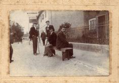 A bridegroom taking a break outside the Bull Inn, Bottesford Market Place.