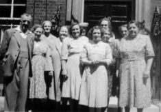 Group of village ladies outside No.10 Downing Street