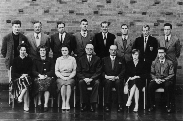 Staff of Belvoir High School, Bottesford, soon after it opened.