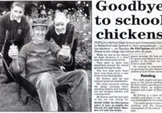 Goodbye to School chickens - Chip's retirement in 2000.